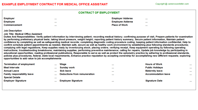 Medical Office Assistant Employment Contract Template