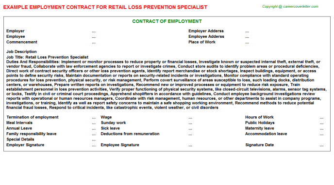 Retail Loss Prevention Specialist Employment Contract Template