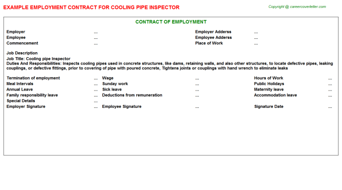 Cooling Pipe Inspector Job Employment Contract Sample