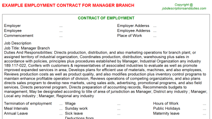 Manager Branch Job Employment Contract Template