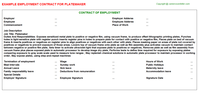 Platemaker Employment Contract Template