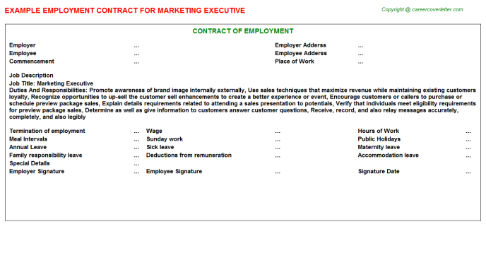 Marketing Executive Employment Contract Template