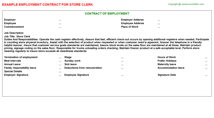 Store Clerk Employment Contract Template