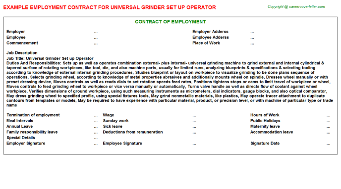 Universal Grinder Set Up Operator Employment Contract Template