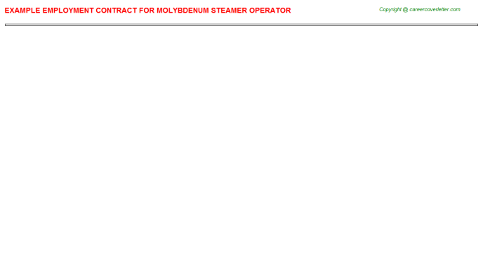 molybdenum steamer operator employment contract template