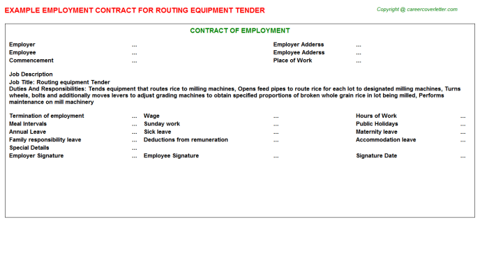 Routing Equipment Tender Employment Contract Template