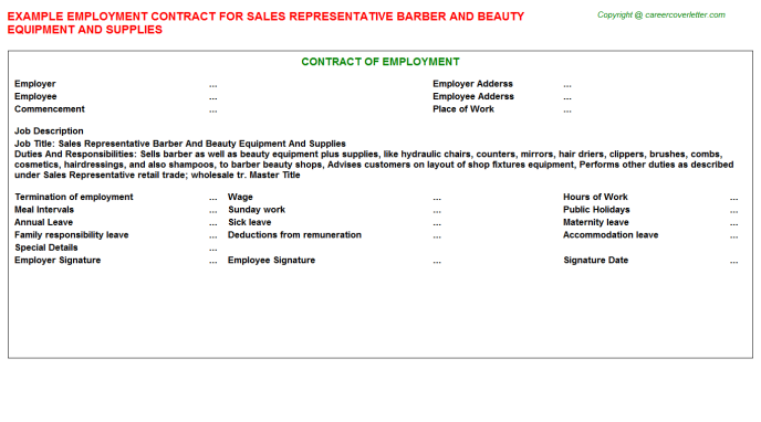 Sales Representative Barber And Beauty Equipment And Supplies Employment Contract Template