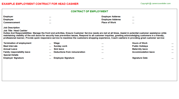 Head Cashier Employment Contract Template
