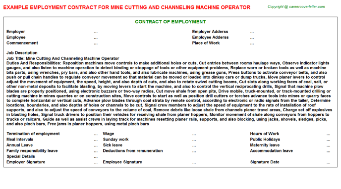 Mine Cutting And Channeling Machine Operator Employment Contract Template