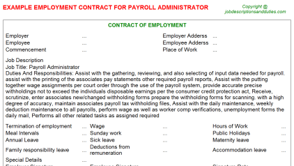Payroll Administrator Job Employment Contract Template