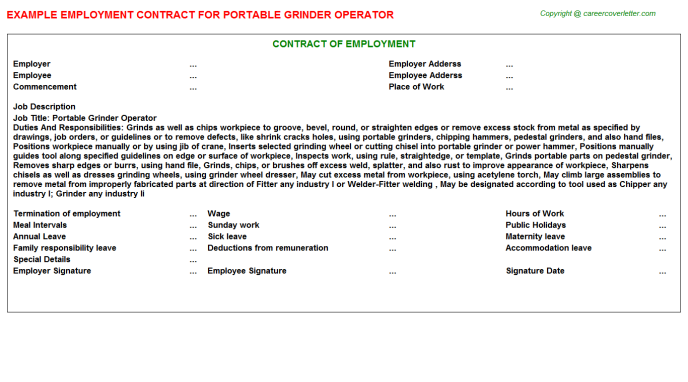 Portable Grinder Operator Employment Contract Template