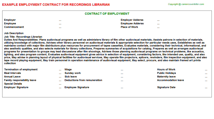 Recordings Librarian Employment Contract Template