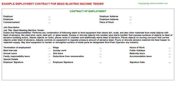 Bead Blasting Machine Tender Employment Contract Template