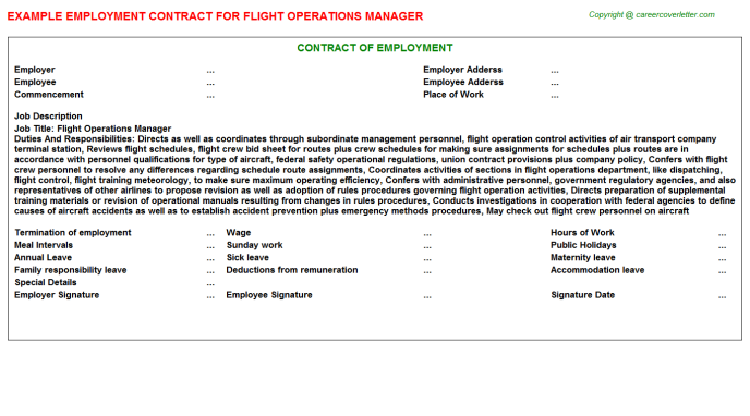 Flight Operations Manager Employment Contract Template