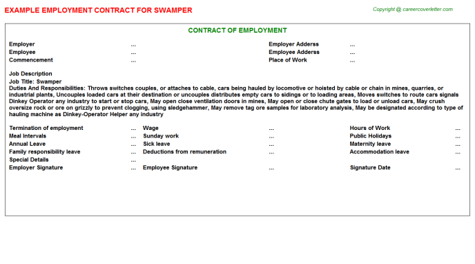 Swamper Employment Contract Template