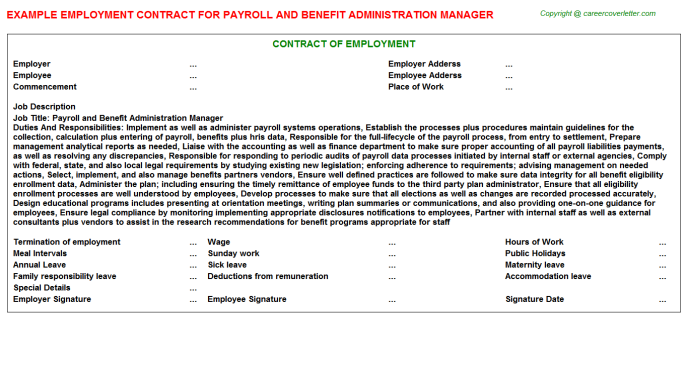 payroll and benefit administration manager employment contract template
