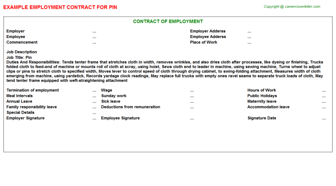 Pin Job Employment Contract Template