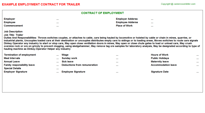 Trailer Employment Contract Template