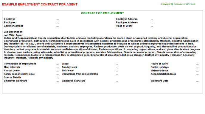 Agent Job Employment Contract Template