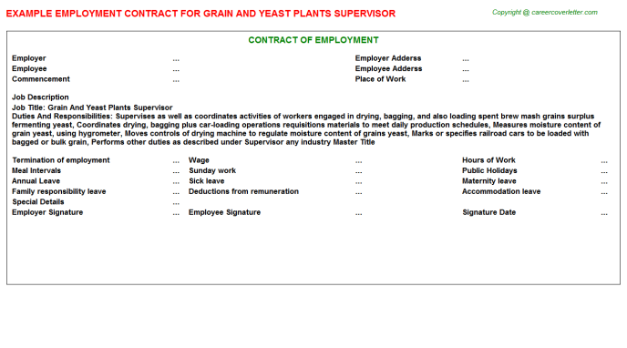 grain and yeast plants supervisor employment contract template
