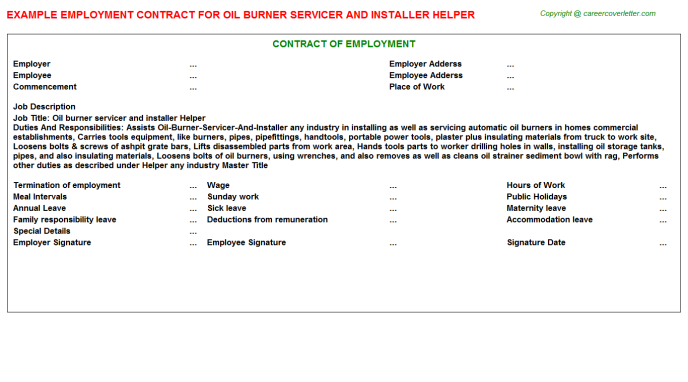 Oil burner servicer and installer Helper Employment Contract Template