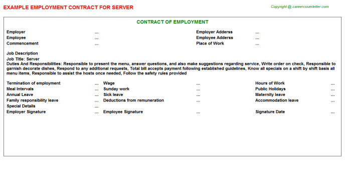 Server Job Employment Contract Template