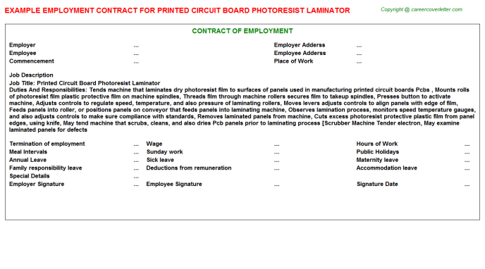 printed circuit board photoresist laminator employment contract template