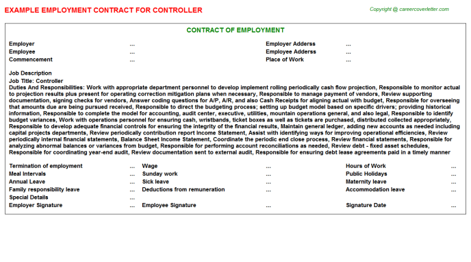 Controller Employment Contract Template