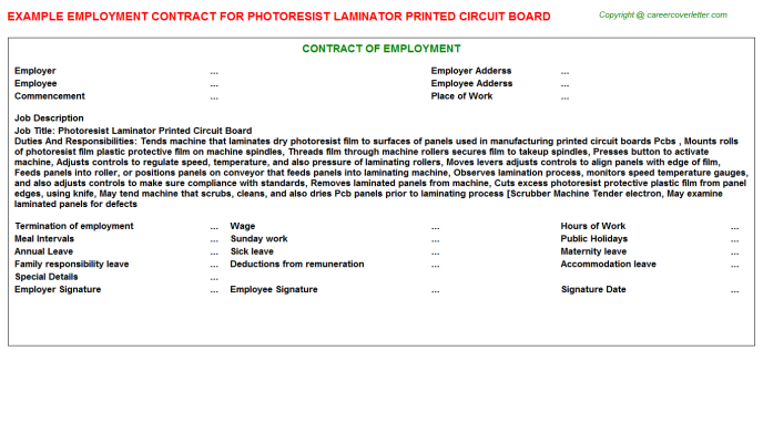 photoresist laminator printed circuit board employment contract template