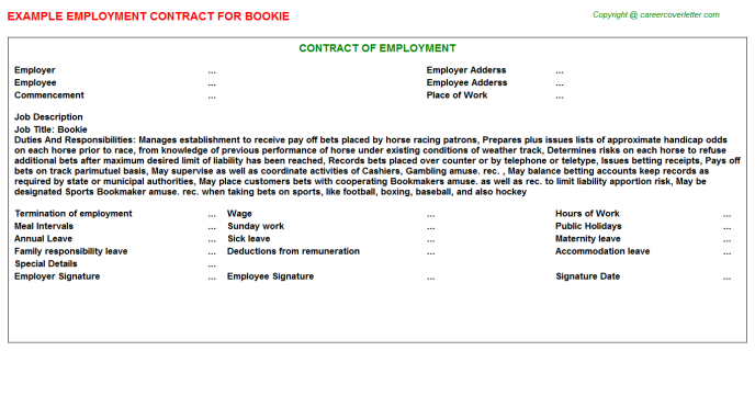 Bookie Job Employment Contract Template