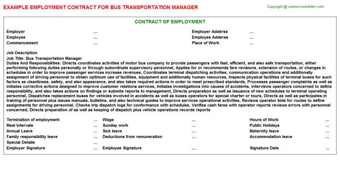Bus Transportation Manager Employment Contract