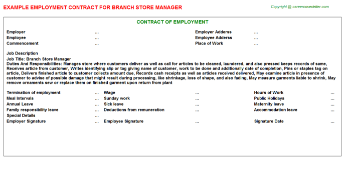 branch store manager employment contract template