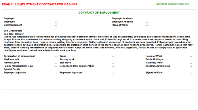 Cashier Employment Contract Template