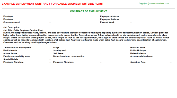 Cable Engineer Outside Plant Employment Contract Template