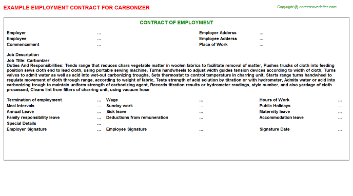 Carbonizer Job Employment Contract Template