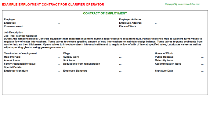 Clarifier Operator Employment Contract Template