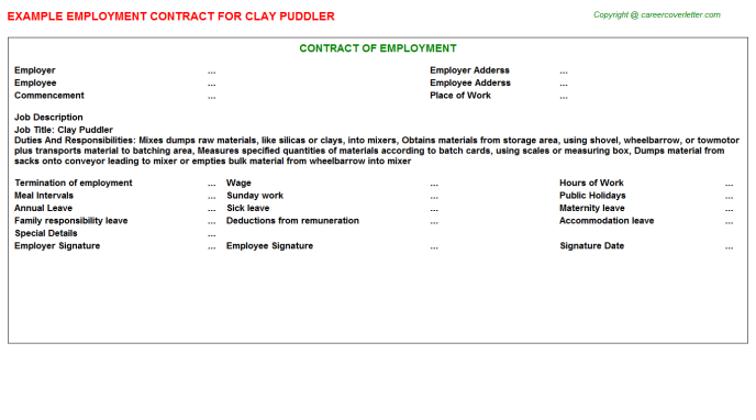 Clay Puddler Employment Contract Template