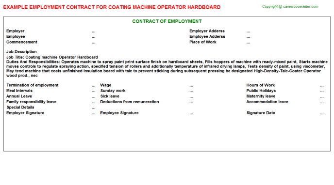 coating machine operator hardboard employment contract template