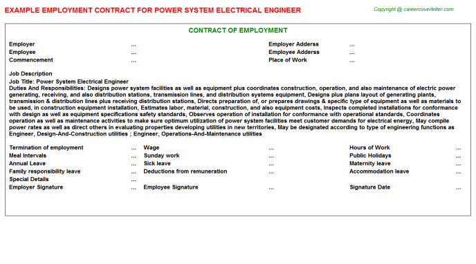 Power System Electrical Engineer Employment Contract Template
