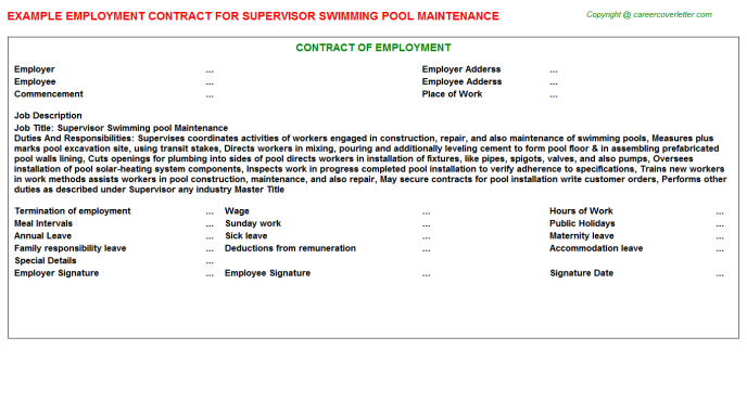 Supervisor Swimming Pool Maintenance Employment Contract