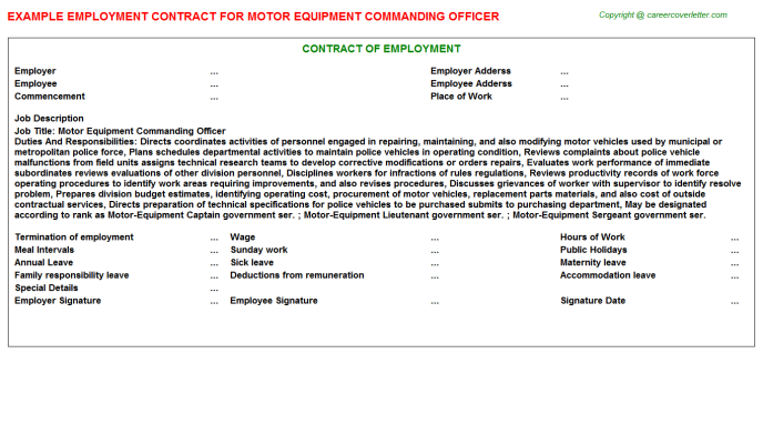 Motor Equipment Commanding Officer Employment Contract Template