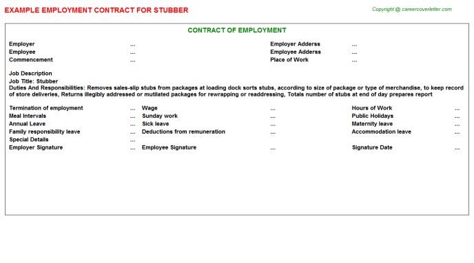 Stubber Employment Contract Template