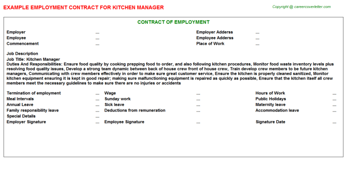 Kitchen Manager Employment Contracts