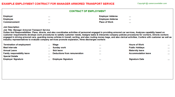 manager armored transport service employment contract template