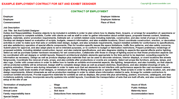 Set And Exhibit Designer Employment Contract Template