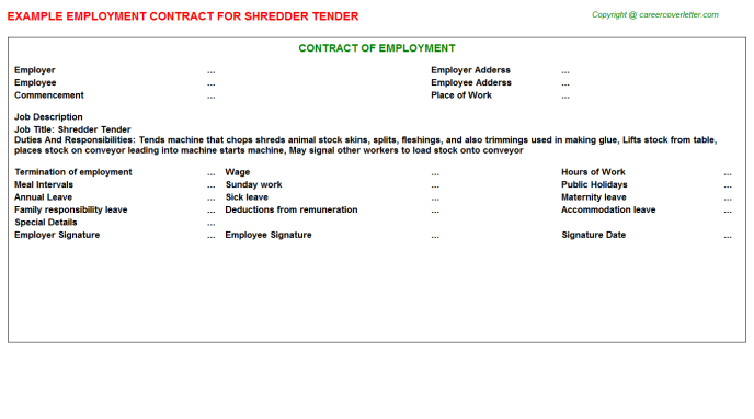 Shredder Tender Employment Contract Template