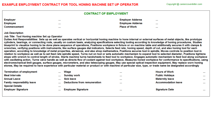Tool Honing machine Set up Operator Employment Contract Template