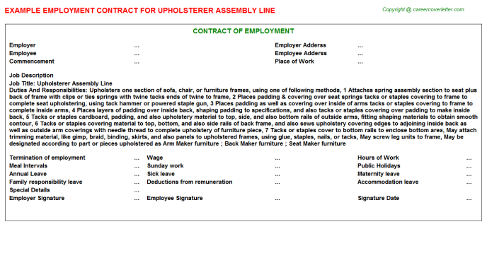 Upholsterer Assembly Line Employment Contract Template