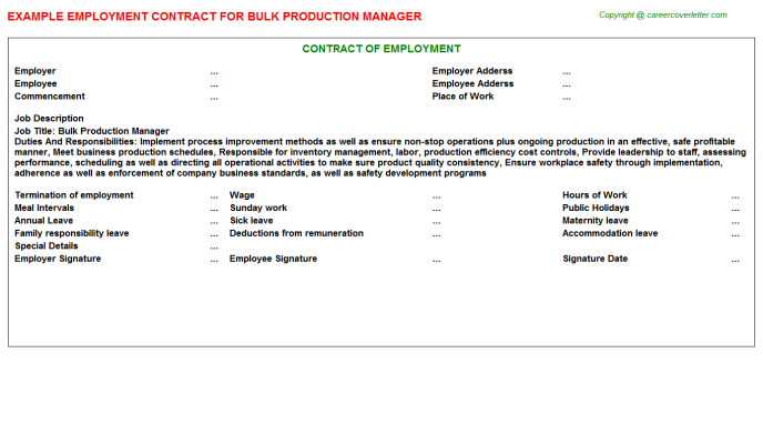 Bulk Production Manager Employment Contract Template