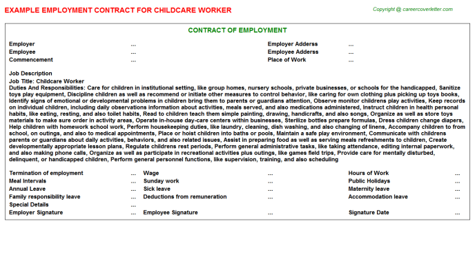 Childcare Worker Employment Contract Template